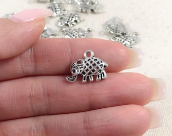 Silver Elephant Charms | Antique Silver Charms | Small Elephant Charms | Yoga Charms | Silver Elephant Pendants |17x13mm SE283