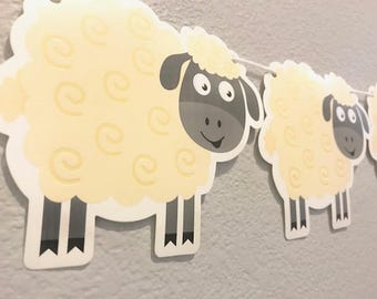 Sheep Banner, Purple, Cream and Gray, Party Supplies, Party Decoration, Garland, Streamer, Sign, Kid's Birthday, Custom, Personalized