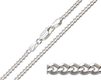 925 Sterling Silver Curb 2.4mm Chain Necklace 16 18 20 22 24 26 28 30 inches