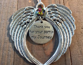 Thank you for your part in my journey, Inspirational Message,Angel Ornaments, Teacher gift. Thank you gift, Teacher appreciation, Coach gift
