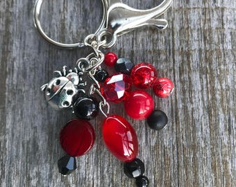 Keychains for Women, Bag Charm, Ladybug Gifts, Ladybug Keychain, Purse Charm for Handbags, Beaded Keychain, Beaded Bag Charm, Gifts for Her