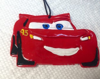 Lightning McQueen polymer clay ornament.Disney cars clay ornament.lightning McQueen party favors.Disny cars gift tag