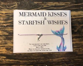 Mermaid wish bracelet.Mermaid kisses and starfish wishes.Mermaid charm bracelet.Mermaid Friendship bracelet.Mermaid jewelry
