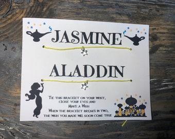 Disney wish bracelet.Jasmine & Aladdin wish bracelet.His and her bracelet.Boyfriend girlfriend bracelet.Friendship wish bracelet.couples
