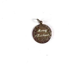 Sterling Silver Charm Merry Christmas round vintage Jewelry