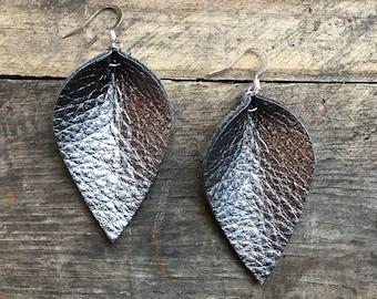 Katie - Leather Leaf Shaped Earrings in Gun Metal.