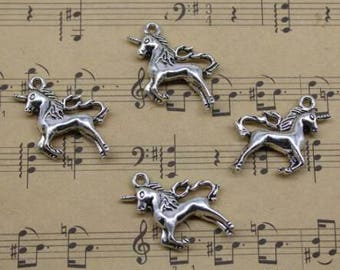 Ten Silver Unicorn Charms
