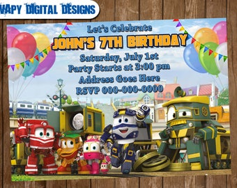 Rotot Trains Digital Party invitation customize invite birthday thank you card