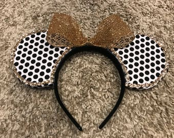 White and Black Polka Dot Minnie Mouse Ears with Gold Bow