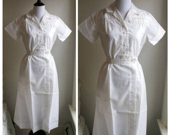 Vintage 1950s Nurse's White Acetate Uniform cuffed sleeves Costume