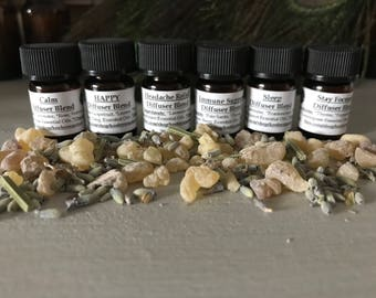 Organic Aromatherapy Diffuser Blends..Certified Organic/Calm, Happy!, Headache Relief, Immune Support,  Sleep, Stay Focused/Esthetician Made