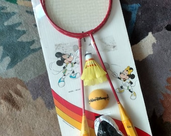 Vintage 80s Disney Mickey Mouse badminton set