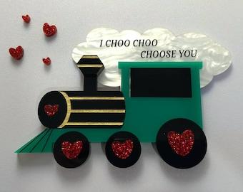 I Choo Choo Choose You Valentine's Day Train Brooch