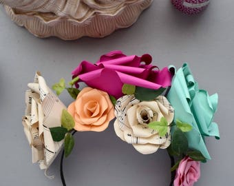 Flower Crown made from Paper Roses, Music Sheet, Fushia Pink, Turquoise, Peach, Bridal Accessories, Partywear, Flower Girl,  Festival