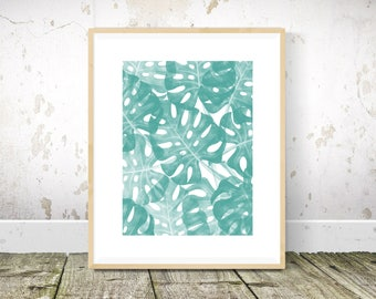 Monstera Print, Monstera Art, Tropical Print, Teal Wall Art, Teal Print, Teal Abstract Painting, Teal Art, Printable Wall Art