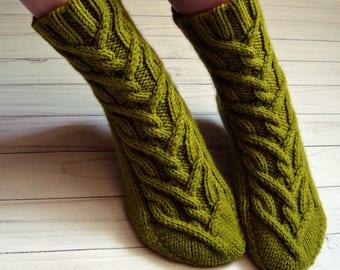 Hand knitted womens wool  green-olive socks Handmade warm aran socks Ladies home socks Winter woolen women cabled  knit socks