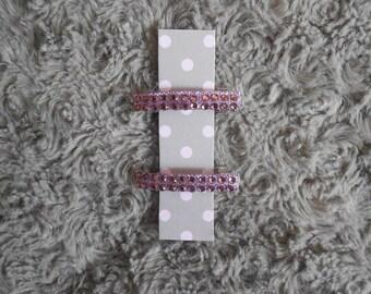 Barrettes with purple rhinestones