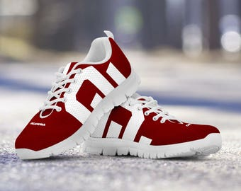 Oklahoma Sooner Football Fan Custom Running Shoes/Sneakers/Trainers - Ladies + Mens Sizes