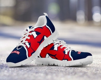 Cleveland Indians Baseball Fan Custom Running White Shoes/Sneakers/Trainers - Ladies + Mens Sizes