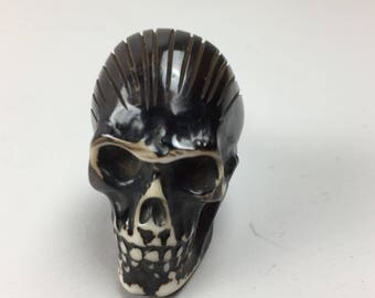 BLACK Resin SKULL KNOB with cream detail - Home decor drawer pull
