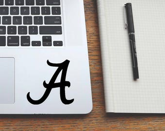 MANY COLORS&SIZES crimson tide decal, university alabama sticker, trackpad decals, macbook laptop stickers, cornhole decals, ipad stickers