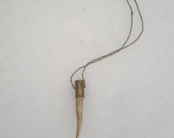 45 Crooked Unicorn Horn Antler Necklace