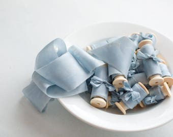 Silk ribbon, hand-dyed, Plant-dyed Baby Blue 100% pure silk habotai ribbon