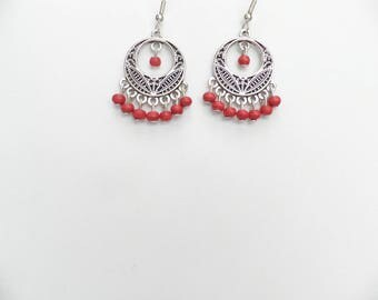"""Earrings """"Eastern"""" with red wood beads"""