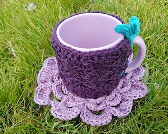 cozy mug and coaster and violet cotton
