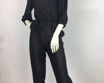 70s polyester jumpsuit/1970s black jumper