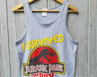 Vintage 1996 Jurassic Park Universal Studios Hollywood Tanks Size S