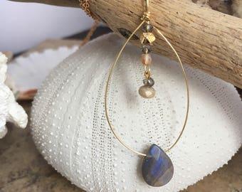 Dainty handcrafted gold  gemstone pendant