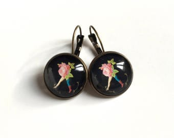Pair of bronze cabochon Stud Earrings black and pink