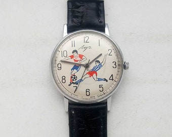 Vintage Soviet SLIM mechanical Watch LUCH. Football. USSR.