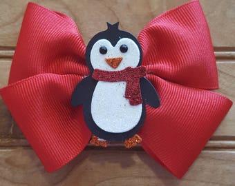 Holiday hair bow, Christmas hair bow, christmas penguin hair bow, red and white hair bow, girls hair bow, penguin