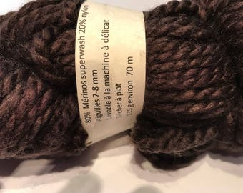 Bulky nylon dyed Merino Wool skein has chocolate brown hand