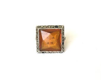 Antique Art Deco 9ct and Silver Faux Citrine & Marcasite Stone Ring Size – M