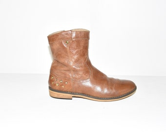 Brown Leather CAP CAKE Ankle Boots Low Heel Pixie Zip Women's Boots Size 3/36