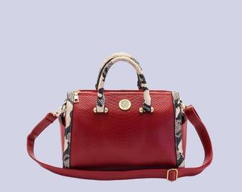 Chic Vegan Leather Bag- Red Crocodile