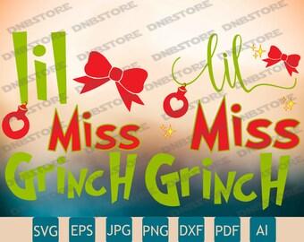 2 Lil Miss Grinch Designs Svg | Miss Grinch SVG | Grinch Svg | Printable | Cricut | Insta Download
