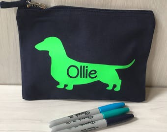 Personalised Pencil Case, Dachshund Pencil Case, Sausage Dog, Blue Pencil Case, Gadget Case, Personalised Gift
