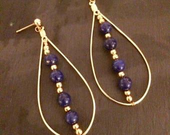 Teardrop hoop earrings with Lapis