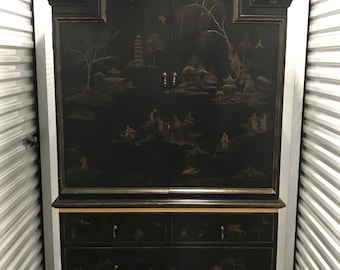Beautiful Chinoiserie Style Black Hand Painted Armoire/TV Cabinet with Gold Motifs