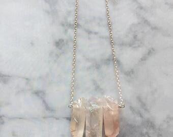 Rose Luster Quartz Crystal Necklace