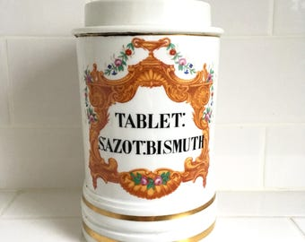 """Apothecary jar late 19th century porcelain with decoration and inscription """"Sazot:bismuth"""""""
