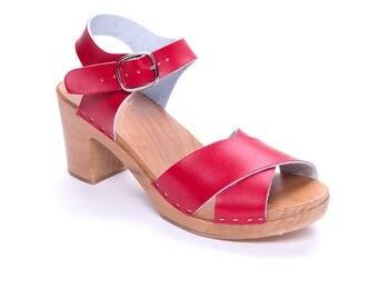 Clog Swedish clog Sandal clog women mule red wooden clog platform shoes