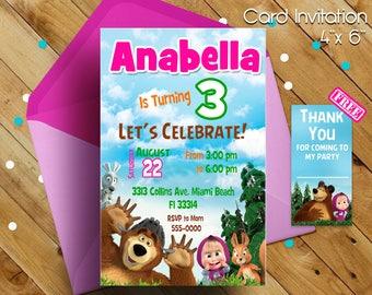 Masha and the bear invitation, Masha and the bear, Masha y el oso, Masha invitation, Masha party, Birthday party, Birthday invitation, gift