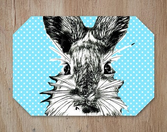 Rabbit Placemat,Easter Table,Table Place mat,Rabbit Kitchen Decor, Country Pattern, Add a Fun Farmhouse Touch to your Kitchen Table.
