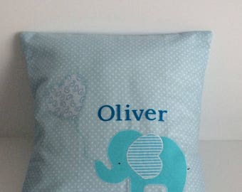 Personalised cushion cover . Baby boy . Name cushion . Elephant  cushion cover . Blue . Nursery decor . Decorative cushion .