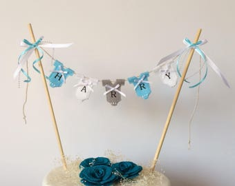 Personalised birthday cake topper. Personalised boy's cake topper . Personalised baby cake topper . Personalised baby bunting .